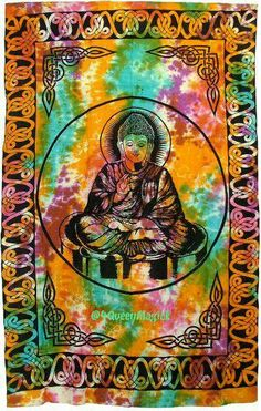 Tie Dye Lord BUDDHA Bedspread - Hippie Tapestry - Bohemian - Wall Hanging - Spirituality - Meditation - Altar Cloth - Sacred Space
