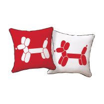 Doxie Red Balloon Dog Theme Pillow
