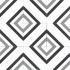 White and grey geometric square tile pattern from Mosaic Factory's CEMENT TILE c. White and grey geometric square tile pattern from Mosaic Factory's CEMENT TILE collection MODERN.