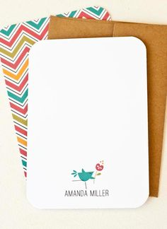 Personalized Note Cards, Personalized Stationery // Chevron // TWEET.