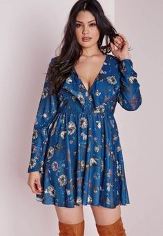 Adorable! Plus Size Boho Flower Print Frill Swing Dress