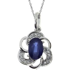 14K White Gold Sapphire Oval Pendant (Chain NOT included) (560 AUD) ❤ liked on Polyvore featuring jewelry, pendants, sapphire pendant, pendant jewelry, glitter jewelry, 14k white gold pendant and 14 karat gold jewelry