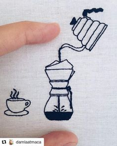 I like my coffee like I like my embroidery; tasty and hand crafted. Hand Embroidery Videos, Hand Embroidery Projects, Hand Embroidery Patterns, Embroidery Art, Cross Stitch Embroidery, Cross Stitch Patterns, Cross Stitching, Needlework, Yosemite Camping