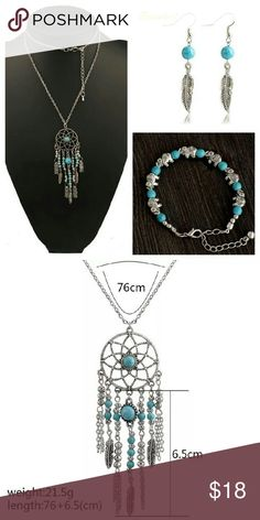 🔥✨Boho Bundle✨🔥 Only one! Includes one boho style elephant bracelet, one dream catcher necklace and one pair of feather earrings.  Hello dear! 💋 Take a look at what I have for sale and don't be afraid to make an offer 😊 Bundle your items for a 10% discount 😮 New items arrive daily so be sure to check back soon 👀Make sure to look out for my buy 2 get one free deals💸   👛💄Happy shopping 👠👗 Tags: follow game gift gifts bohemian set Indian turquoise antique vintage retro brand new…