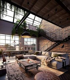 Who doesn& want to live in a loft Leben im Industrial Chic! Wer möchte nicht in einem Loft wohnen? Diese l … – Wohnzimmerdekor Industrial chic life! Who wouldn& want to live in a loft? Industrial Interior Design, Industrial Interiors, Industrial House, Interior Design Living Room, Living Room Designs, Industrial Kitchens, Industrial Style, Urban Industrial, Vintage Industrial