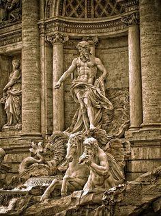 Fontana di Trevi, Nicola Salvi, 1735, Piazza di Trevi, Roma. Particolare.