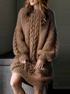 Buy vintage wool or cashmere knitwear online. Casual drop design sweaters and long crochet cardigans are suitable for spring and summer. Casual Sweaters, Cozy Sweaters, Knit Fashion, Sweater Fashion, Mode Outfits, Chic Outfits, Long Sleeve Sweater Dress, Sweater Dresses, Maxi Dresses