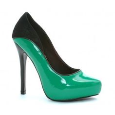 BP517-DIXIE Women Two Tone Platform Closed Toe with Lace Backing Pumps - Green