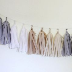Nuetral/Gray Tissue Paper Tassel Garland - Natural - Petite Party Studio