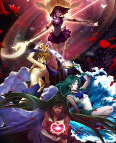 Sailor Saturn, Sailor Uranus, Sailor Neptune, Sailor Pluto by SHABOM