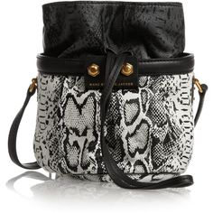 Lexi Makes Friends Jen snake-print leather bucket bag ($135) ❤ liked on Polyvore featuring bags, handbags, shoulder bags, accessories, bolsas, borse, snakeskin purse, leather shoulder bag, genuine leather purse and genuine leather shoulder bag