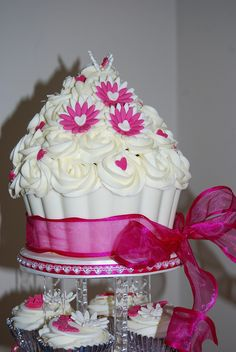 GIANT CUPCAKE CHOCOLATE SHELL WEDDING TOWER by Stephs cupcakes, via Flickr