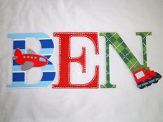 So cute for a little boy's room!! Customized Hand Painted Wooden Letters by PlaidandPaisleyShop