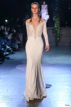 persy couture 2015 wedding dresses bridal off the shoulder lace long sleeves deep plunging neckline fit and flare gown