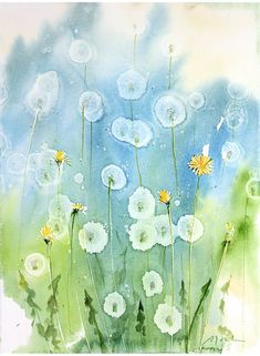 Today's Painting and Video: How To: Dandelion watercolor painting using Alcohol . - Today's Painting and Video: How To: Dandelion watercolor painting using Alcohol droplets - Watercolor Cards, Watercolor Flowers, Watercolor Paintings, Watercolours, How To Watercolor, Watercolor Pencils, Art Painting Flowers, Watercolor Artists, Abstract Paintings