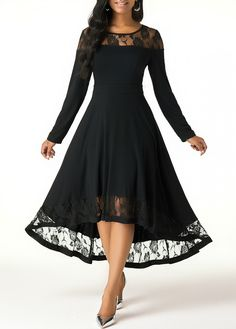 Women'S Black Illusion Long Sleeve High Low Dress Solid Color Elegant Maxi Flowy Cocktail Party Dress By Rosewe Lace Patchwork Long Sleeve High Low Tight Dresses, Trendy Dresses, Women's Fashion Dresses, Casual Dresses, Dresses Dresses, Spring Dresses, Long Dresses, Dress Long, Fashion Clothes