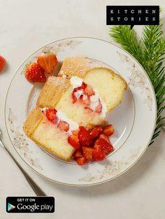 Red Chiffon cake with strawberries