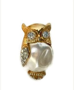 Beautiful Vintage 70s Era Hollywood Glam Sparkling Rhinestone Gold Tone Owl Brooch. Features Large Sparkling Clear Rhinestone Eyes, Wing