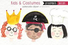 Watercolor Clip Art - Kids, Children by Maria B. Paints on @creativemarket