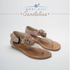 Unas lindas #Sandalias de estilo fresco y cómodo, con su detalle de rosa, 100% Cuero, hecho en Colombia.