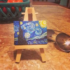 "Mini Starry Night (Vincent Van Gogh). Tiny acrylic painting by Natalie Ward. You can find mini canvases & easels at craft stores like Jo-Ann Fabrics. This one is about 2.5""x2"". I'd like to do a series of these someday."
