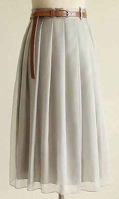 Chiffon pleated skirt with belt  A387