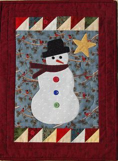 snowman wall hanging -- Substitute #AccuQuilt dies to cut out the shapes for this quilt! #Holiday