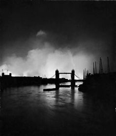 """Tower Bridge silhouetted against the fires burning on London's docks, ignited during German air raid attack on the city"", by William Vandivert, September 1940 Vintage London, Old London, Blitz London, London History, British History, The Blitz, Magnum, Air Raid, Battle Of Britain"