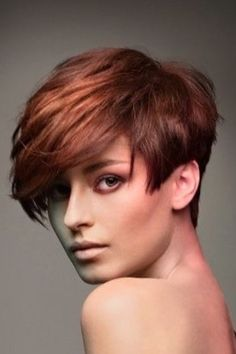 Copper Red short hair Short Choppy Hair, Short Layered Haircuts, Short Hair With Bangs, Cute Hairstyles For Short Hair, Short Hair Cuts For Women, Short Hair Styles, Thin Hair, Short Cuts, Fine Hair Cuts