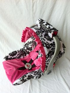 Damask with Hot Pink Minky Infant Car Seat Cover with Matching Neck Strap Set