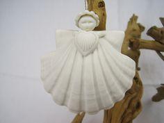 "1986 Heart Angel Vintage Ornament by Margaret Furlong – 3"" Shell Angel – Unglazed Porcelain - Christmas by fromThePeddlersCart on Etsy"