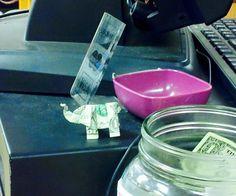 Origami with a dollar note, a dollar elephant !!