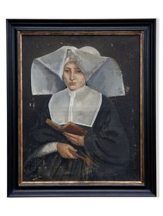 early-19thc-framed-oil-painting-of-a-nun