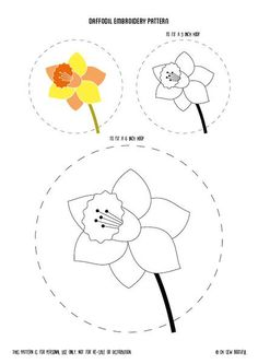Free Daffodil Embroidery Pattern, Free Easter Embroidery Pattern, Easter Hoop Art Freebie, Free Flower Needlecraft
