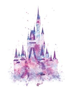 Cinderella Castle Art Watercolor Print, Princess Castle, Disney Castle , Disney Wall Art, Disney Gift, Baby Nursery Decor, Digital Download by artsaren on Etsy