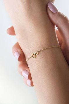 Graduation Gifts Discover Romantic Two Heart Bracelet Yellow Gold Bracelet Attached Gold Hearts Double Heart Charm Delicate Bracelet Love Gift For Her Gold Heart Bracelet, Diamond Bracelets, Love Bracelets, Sterling Silver Bracelets, Ankle Bracelets, Braclets Gold, Initial Bracelet, Best Friend Charm Bracelets, Pearl Bracelets