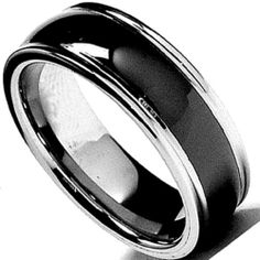 Tungsten Carbide Men's Ladies Unisex Ring Wedding Band 8MM (5/16 inch) Black Dome Beveled Edge Comfort Fit (Available in Sizes 8 to 12) DazzlingRock Collection. $14.99. Unisex Ring. 8mm wide. Stamped Tungsten Carbide. Get most bang for your buck