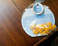 """Fish Themed Party thank you. """"Preston is o-fish-ally one!"""" Cute."""