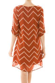Longhorn Fashions - Burnt Orange and White Chevron Dress