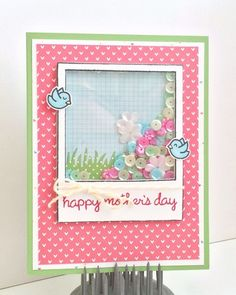 Lawn Fawn - Happy Everything, Home Sweet Home + coordinating dies, Say Cheese + coordinating die, Hello Sunshine and Let's Polka 6x6 paper _ Why not make a shaker card for Mother's Day? Lauren's is a beauty! _ Sequin Shaker Blog Hop | www.laurentaylormade.com