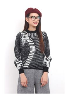 Monochrome Geometric Textural Chunky Knit Jumper in Black/ Ivory. Cropped Style. Composition: Acrylic. One Size Fits UK8-10 Model is 167cm wears size S UK8. Follow us on ASOS market place if you like our style! New items coming in all the time! Like us on Facebook to get a PROMO CODE if you are first time buyer. We do combine shipment, please contact us 101115