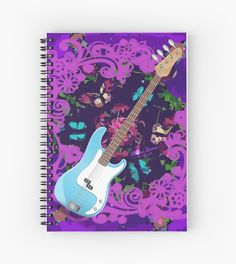 #VibrantPurple #AbstractFloral #BlueBassGuitar #SpiralNotebook by#MoonDreamsMusic #SchoolSupplies