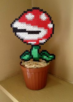 8 Bit Potted Plant Collection - Big Red Piranha Plant - Mario perler beads by Erin Bunuan