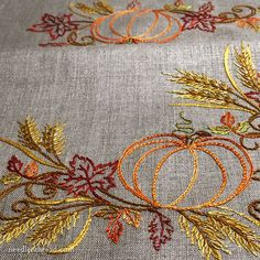 An Finish – Embroidered Table Runner for Fall – NeedlenThread.com - Festive Fall will be published in September! Check back on Needle 'n Thread for it!