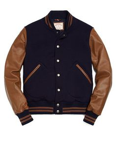 Bomber Jacket with Leather Sleeves - Brooks Brothers