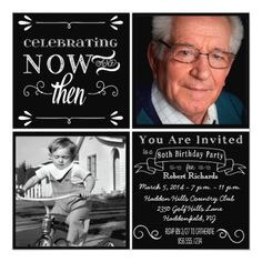 Chalkboard 80th Birthday Square Photo Invitation Surprise Invitations 70th Celebration