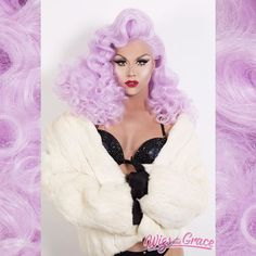 @farrahrized having a moment in a custom styled Lavender Aphrodite . Www.wigsandgrace.com