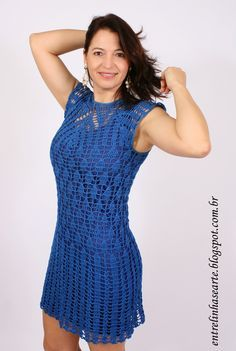 Entre Linhas e Arte: Vestido de Crochê by Silvana Costa II Blouse Dress, Knit Dress, Dress Skirt, Crochet Blouse, Knit Crochet, Lace Patterns, Crochet Patterns, Crochet Wedding, Patchwork Dress