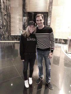 AO 2018-Simona Halep and Roger Federer