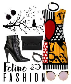 """Feline Fashion 🐱"" by erliza on Polyvore featuring Moschino, Fendi, WALL, Kate Spade, Yves Saint Laurent, Givenchy and Boohoo"